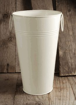 """French Flower Market Cream White Buckets 11"""" with Liners"""