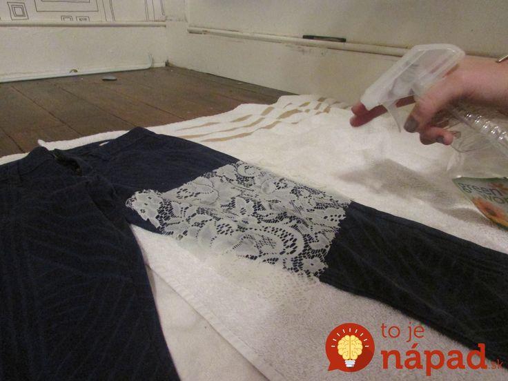 Krásny nápad, ako premeniť staré nohavice, na celkom nový, šik kúsok. Ak si myslíte, že ich najlepšie šasy dávno skončili, tento šikovný tip vás určite poteší. Potrebujete naň len veci, ktoré určite nájdete doma. Staré nohavice, bielidlo a starú záclonu, alebo kus čipky. Postup: Nohavice Bielidlo Uterák Fľašu s rozprašovačom Postup: Na stôl rozložíme biely...