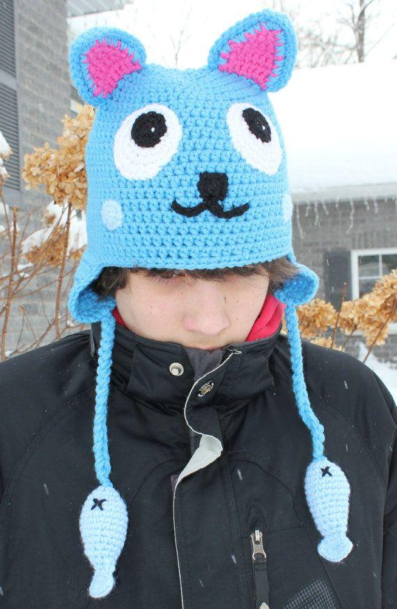 Chapeau inspiré du personnage de Fairy Tail Happy par Crochetri, $51.50