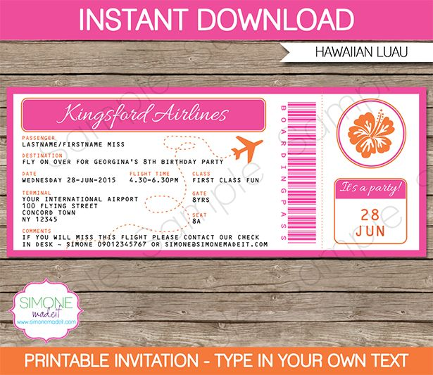 25+ unique Boarding pass template ideas on Pinterest Boarding - printable ticket invitations
