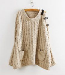 $22.24 Leash Embellished Pockets Cable Knit Cotton Blend Solid Color Sweater For Women