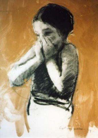 ART LOVE!_Artist, Charlie Mackesy_Giggling girl_Charcoal, Gouache on paper