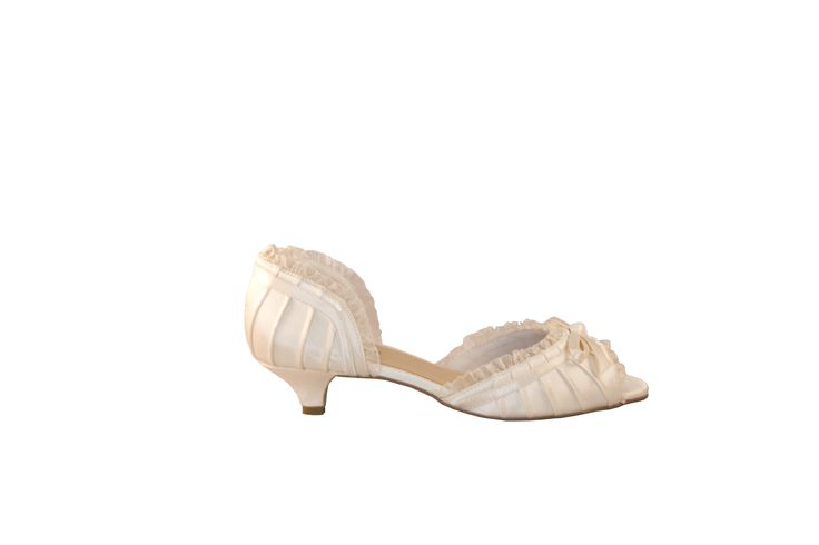 Sophie in a 3cm kitten heel. Perfect for the vintage inspired brides who need a lower heel.