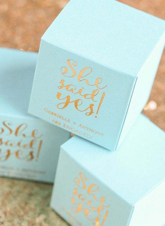 She Said Yes Engagement Party | The perfect mint blue favor boxes for an engagement party
