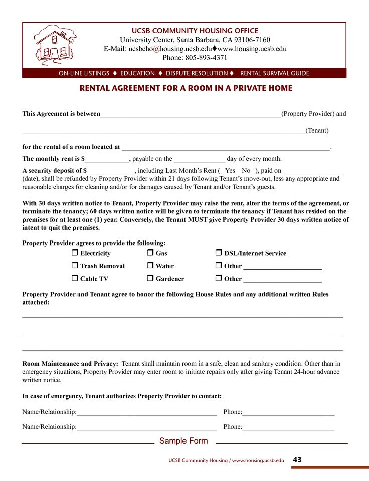 Home Rental Lease Agreements for Private Room. Room Rental Agreement Template…