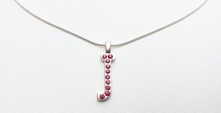 Halskette mit Anhänger Buchstabe J pink | Mädchenflohmarkt