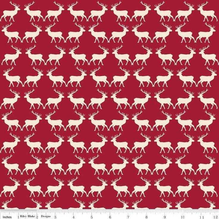 Riley Blake Postcards For Santa Deer Red
