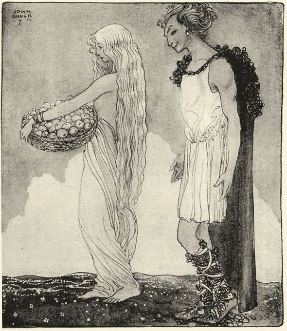 Loki and Idun illustrated by John Bauer in 1911 for Our Fathers' Godsaga by Viktor Rydberg.
