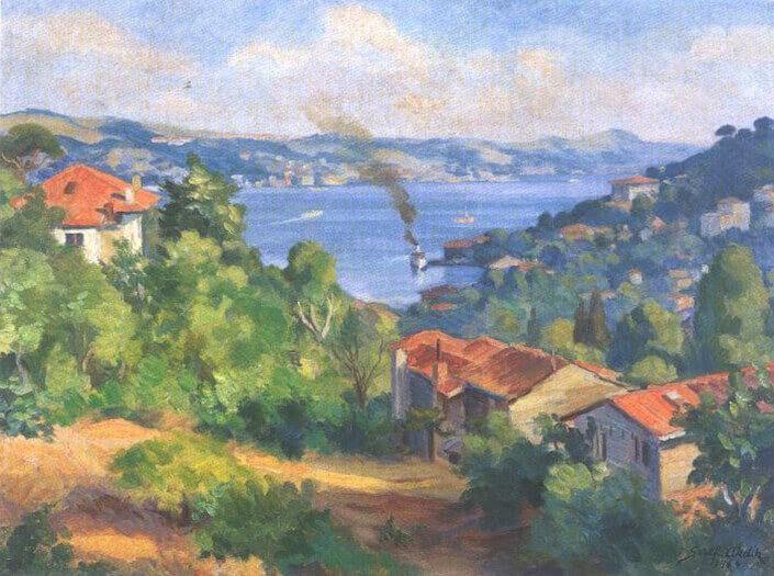 Şeref Akdik | Boğaz'dan (1964) Tuval Üzerine Yağlıboya