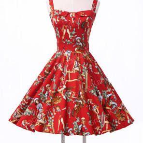Hepburn 50's Vintage Dresses Retro Party Pin Up Swing Cherry Dresses