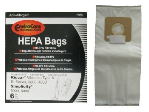 12 Riccar Vibrance Simplicity 5000, 6000 Type a Hepa Bags, Commercial, Canister Vacuum Cleaners, S6-3, S6-12, C13-6, C13