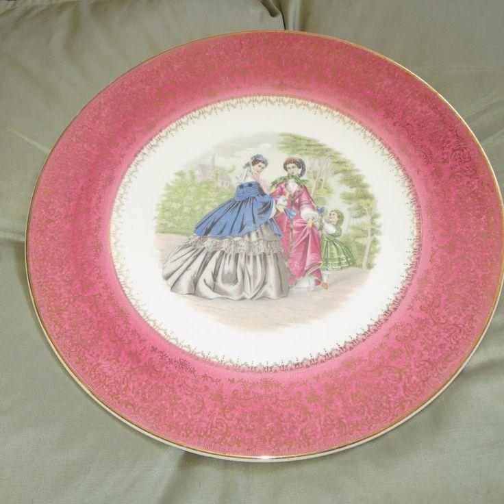 Vintage Salem China Godey Victorian Ladies Service Plate/Charger Rose Band  #SalemChinaco