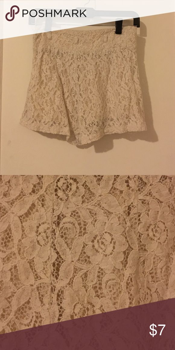 Shorts Cream colored lace shorts with flower designs. Worn a handful of times. Forever 21 Other
