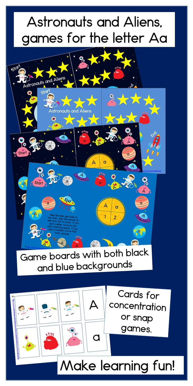 A fun game for preschool and kindergarten students learning the letter A - and great for your outer space theme! TpT $