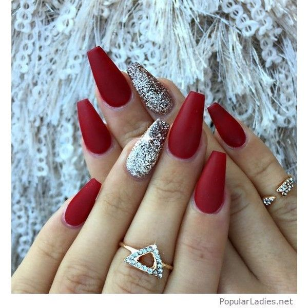Red matte nails with some glitter ❤ liked on Polyvore featuring beauty products, nail care, nail treatments and nails