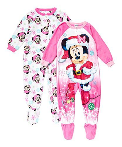 Bling Stars Minnie Mouse Christmas Bells and Bows Fleece Pajama Sleeper Set  (4T) 03259e439