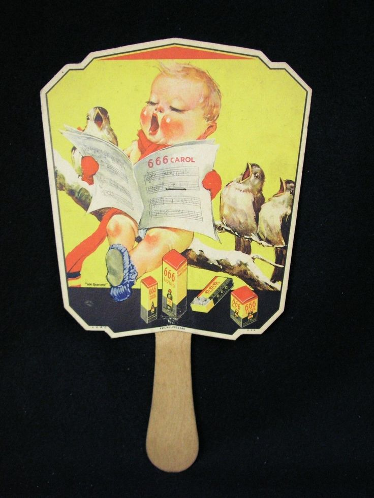 Vintage 1930's Cardboard Advertising Fan 666 Quartette Medicine - Excellent -NR | eBay