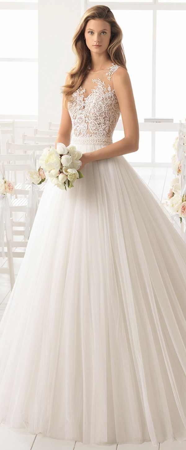 Attractive Tulle Jewel Neckline A-line Wedding Dress With Lace Appliques & Beadings