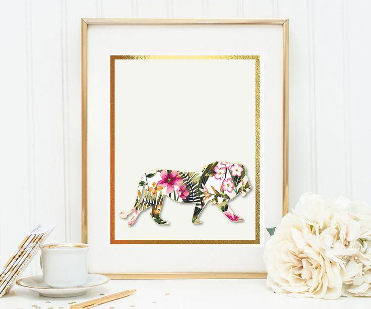Un favorito personal de mi tienda de Etsy https://www.etsy.com/es/listing/546271226/lion-with-watercolor-flowers-printable