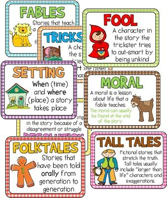 Folktale Anchor Charts FREEBIE!  from Barnard Island on TeachersNotebook.com (10 pages)