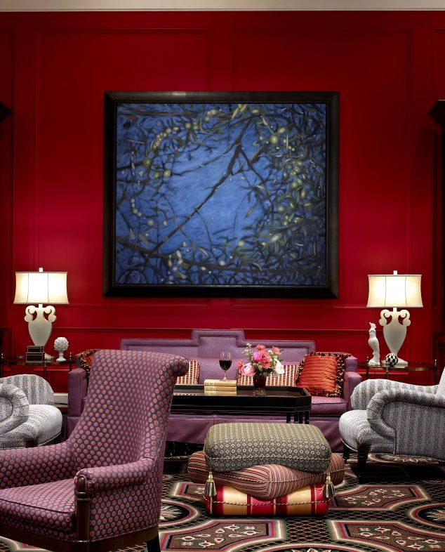 Deep Red Walls With Purple And Grey Accent Furniture Make
