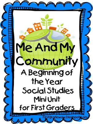 FREE printable Community Mini-Unit.  Thank you First Grade W.O.W. blog!