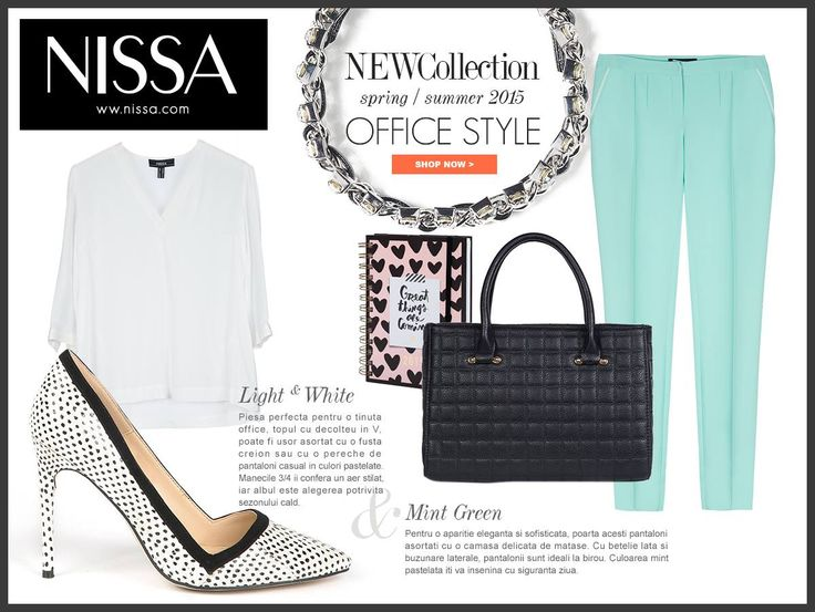 www.nissa.com  #nissa #office #style #outfit #fashion #look #print #black #white #mint #fashionista #inspiration #trousers #top