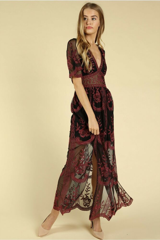 Style 30220-BK Honey Punch Black Print Embroidered Lace Maxi Dress