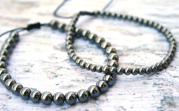 Men bead Bracelet, Hematite Bracelet, mens gift, gift for him, men jewelry, healing bracelet, husband gift, macrame, shinny, 4mm / 6mm beads by SanguineJewelry on Etsy