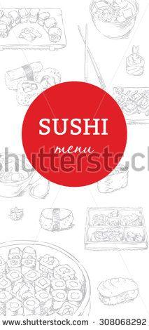 Sushi menu cover in sketch style