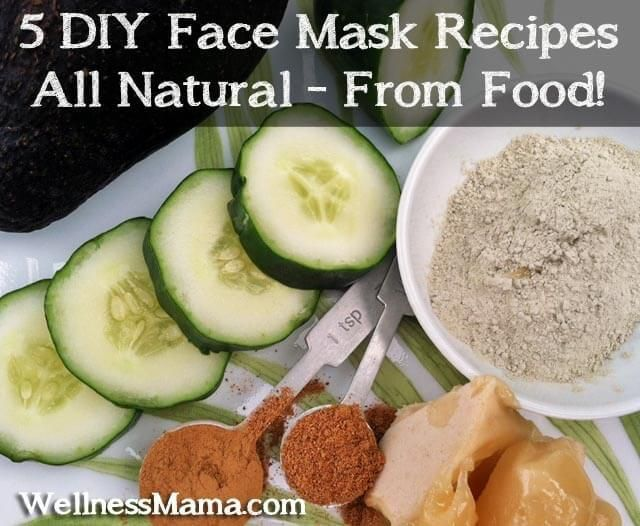 Five DIY Face Mask Recipes from food 5 Natural Face Mask Recipes. ask This one is especially great for oily or inflamed skin. Blend 1/2 of a cucumber with 1 tablespoon of honey and 1 teaspoon of bentonite or kaolin clay. Add additional clay if needed to create a paste. Apply to face and leave on for 20 minutes.  Remove with a washcloth and warm water.  Good for: All skin types, especially cooling for acne prone skin