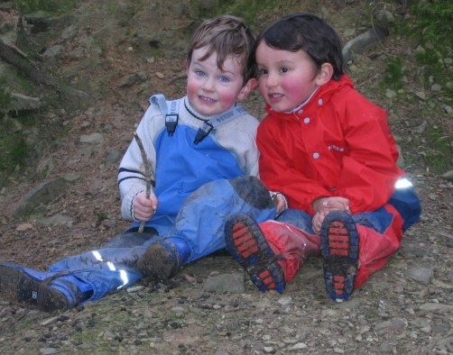 Jake and Dougie wearing our Everyday Dungarees in the Woods.  http://www.puddleducks.ie/childrens-waterproof-dungarees.html