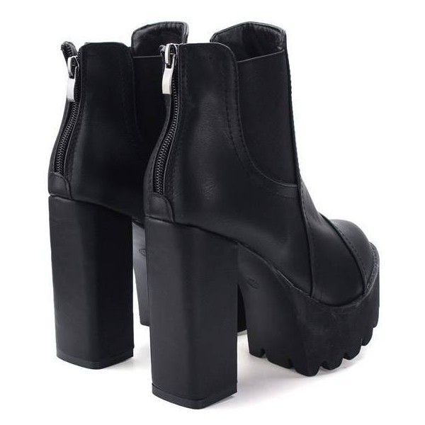 Elastic Back Zipper Ankle Platform Chunky Heel Knight Boots (£15) ❤ liked on Polyvore featuring shoes, boots, dark, newchic, high heel platform boots, high heeled footwear, back zipper boots, round toe boots and synthetic boots