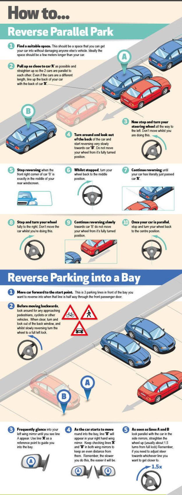 How to back it up. | 21 Genius Car Cheat Sheets Every Driver Needs To See