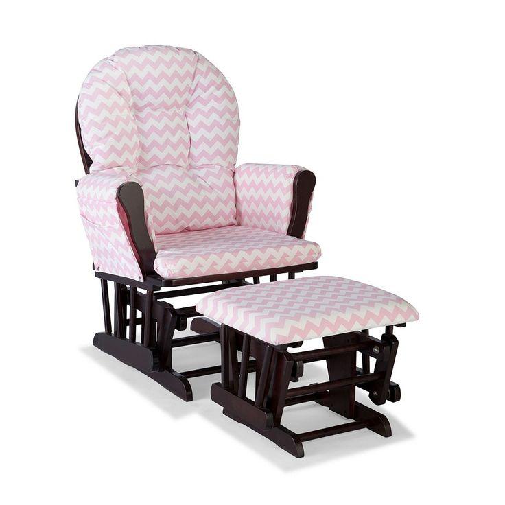 Stork Craft Chevron Hoop Custom Glider Chair and Ottoman Set, Pink