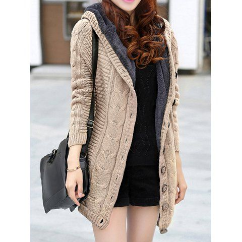 Long Sleeves Hooded Single Breasted Chunky Cable Knit Long Sections Thickened Fleece Lined Casual Women's Cardigan