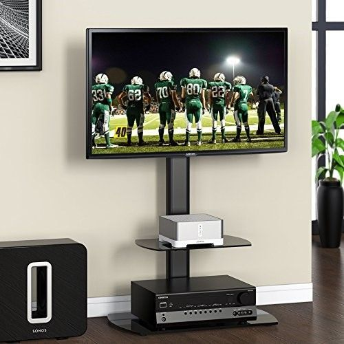 """Fitueyes Swivel Floor tv stand with mount and two shelves for 32-50"""" Sony/ Samsung /LG/ Vizio TV TT206501GB"""