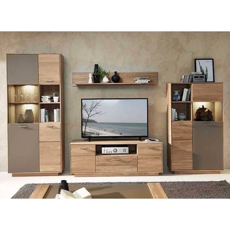 Wohnzimmer Wohnwand Aus Wildeiche Massivholz Glas Grau 4 Teilig Jetzt Bestellen Unter