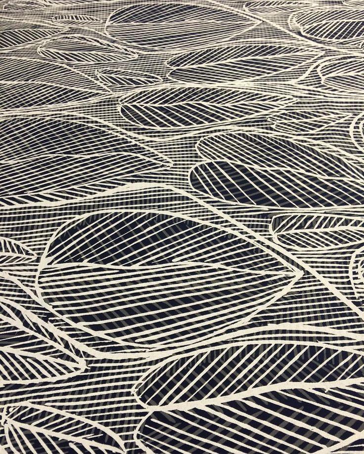"76 Likes, 3 Comments - Babbarra Designs (@babbarradesigns) on Instagram: ""Leaves by Susan Marawarr, screen print on cotton #textiledesign #screenprinting #aboriginalart…"""