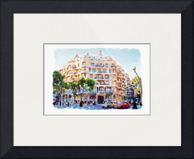 """""""La+Pedrera+Barcelona""""+by+Marian+Voicu,+Bucharest+//+Watercolor+art+is+an+awesome+idea+for+a+wall+decor.+My+art+is+suitable+for+home+or+office+decor+and+the+perfect+solution+for+a+last+minute+gift.+//+Imagekind.com+--+Buy+stunning+fine+art+prints,+framed+prints+and+canvas+prints+directly+from+independent+working+artists+and+photographers."""