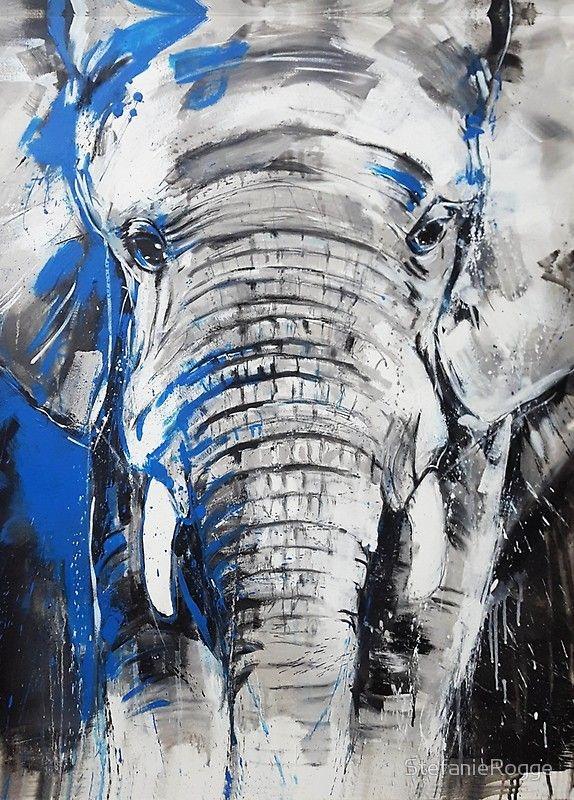 Elefant   Portrait Eines Bullen   Expressive Malerei