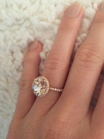 A 5-carat light brown diamond in a delicate rose-gold halo, this week's featured jewel makes us want to pop some champagne! Champagne Diamond Engagement Ring in Rose Gold - Image by waity-katie