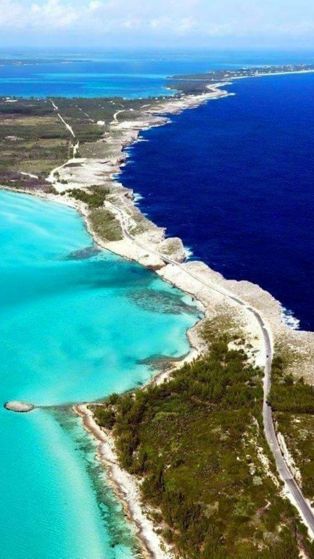 Eleuthera, an island in the Bahamas where the dark Atlantic Ocean meets the aqua Caribbean Sea.