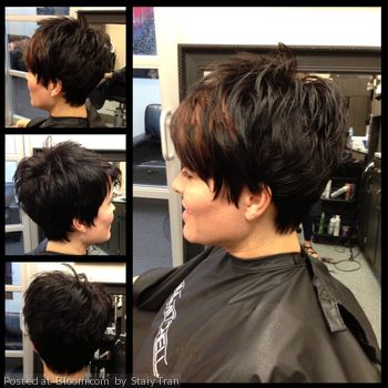 Great cut for thick coarse hair. Lots of razor texture! Very cute haircut!