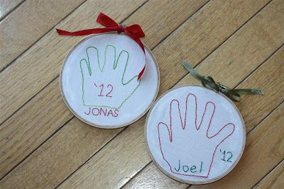 Sewing Chick: Embroidered Hand Print Ornaments