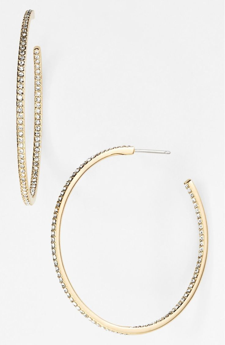 Definitely adding these gorgeous gold hoops with clear pavé-set crystals to the top of the Anniversary Sale wish list. They will be the perfect statement during holiday party season!