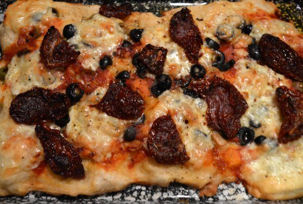 Focaccia with tomato and olives