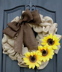 burlap wreath with sunflowers Embellish your burlap wreath with these creative tutorial ideas.  #wreath #DIY #Burlap #tutorial