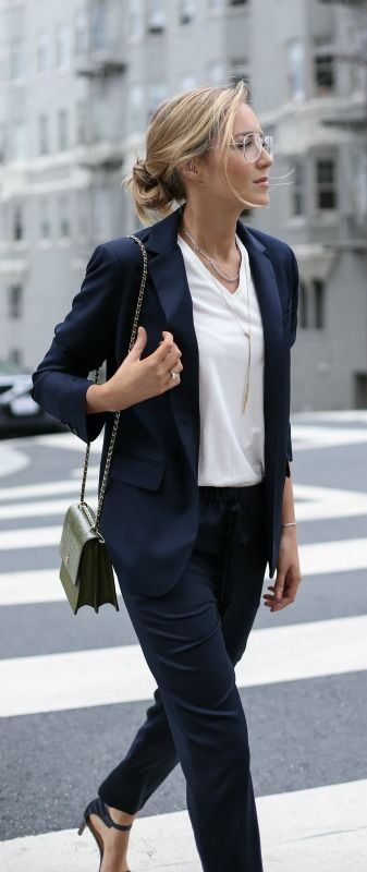 navy tailored pants, navy blazer, white vneck tee shirt, navy ankle strap heeled sandals, olive green cross body bag + messy bun {zady, j. crew, ann taylor, tory burch