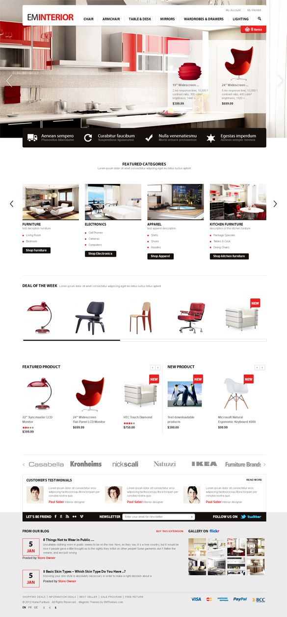 EM Interior, Magento Responsive Furniture Theme